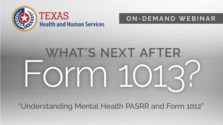 Texas PASRR form 1013 replacement